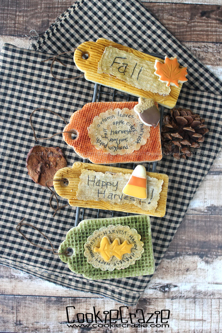 Harvest Burlap and Wooden Gift Tag Decorated Sugar Cookies   YouTube Video