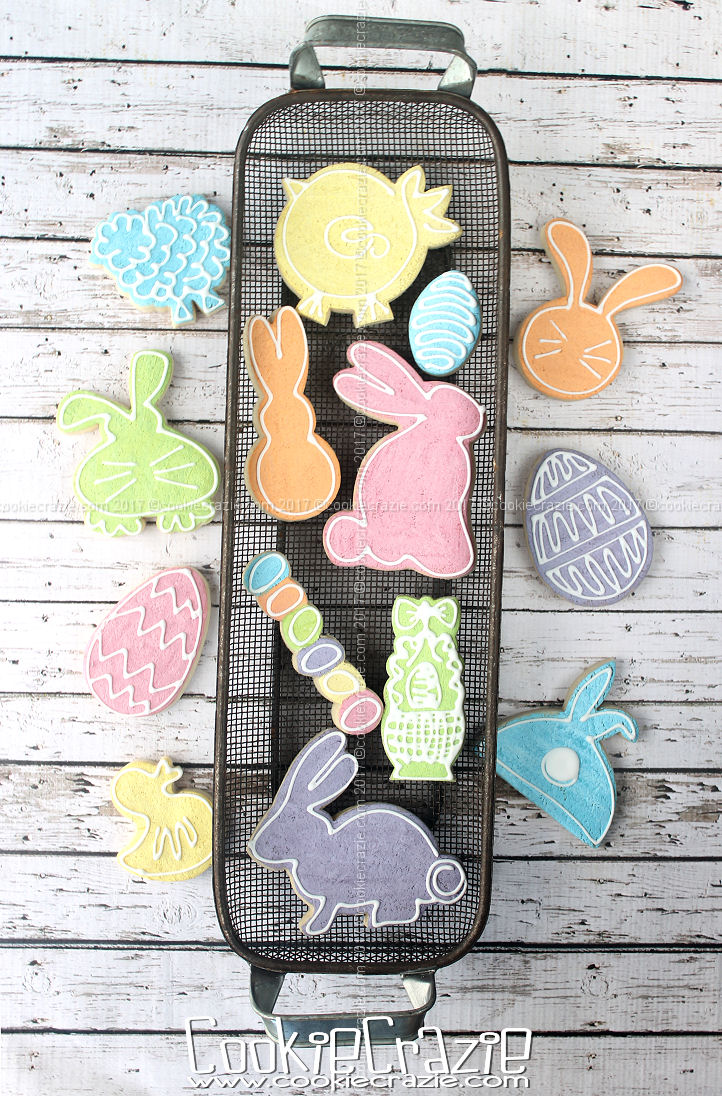 Painted Background Silhouette Easter Decorated Cookies (Tutorial)