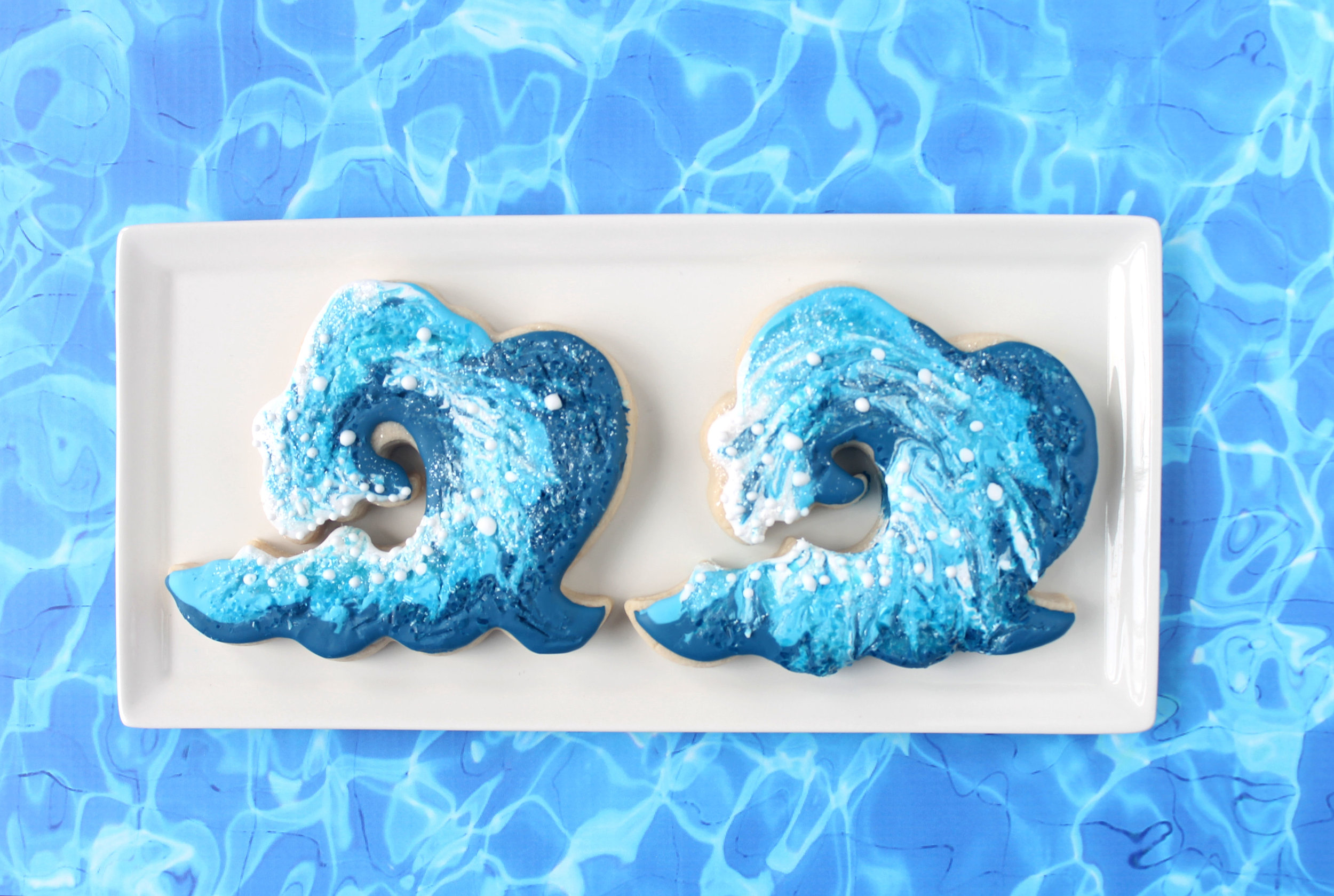 Ocean Wave Decorated Cookie YouTube Video