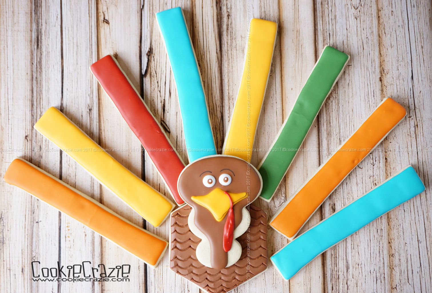 Stick Feather Turkey Decorated Cookie Collection (Tutorial)