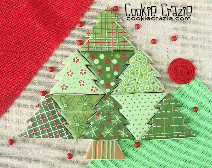 Christmas Tree Quilt Block Cookies