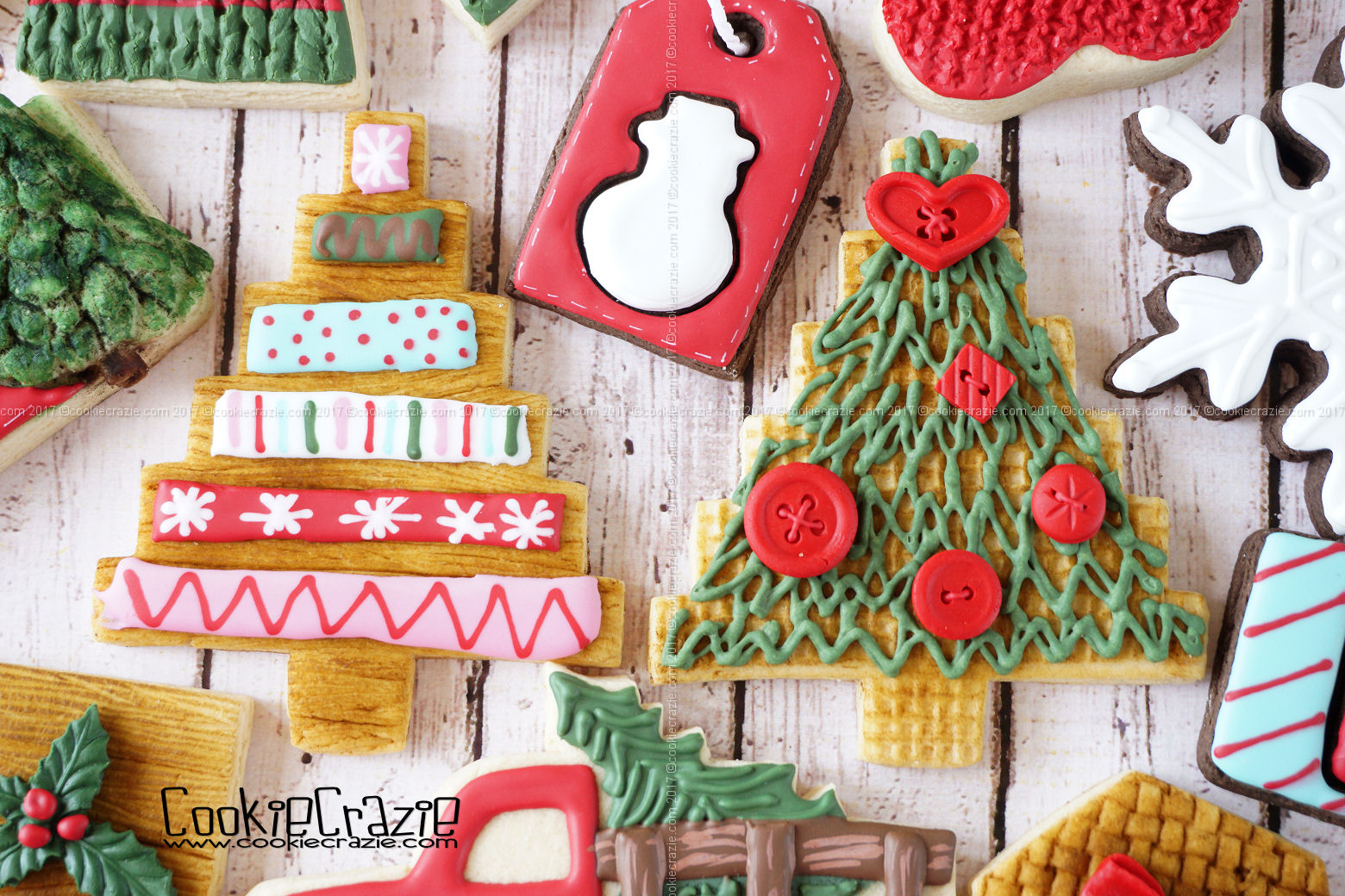 Homespun Christmas Tree Decorated Cookies (Tutorial)