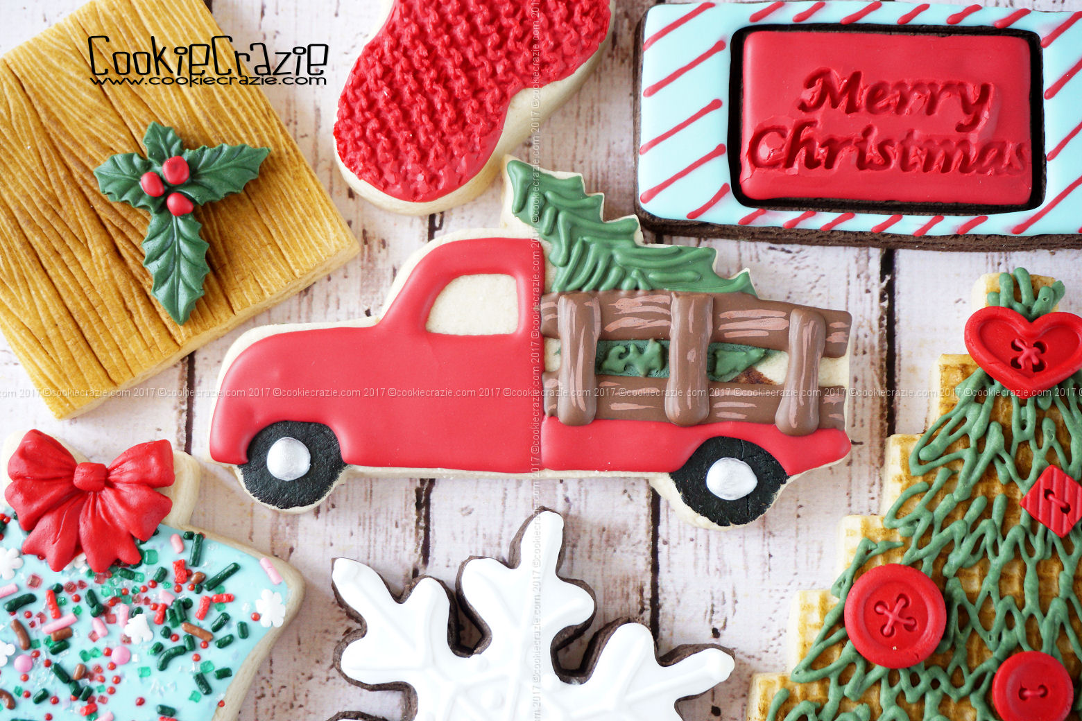 Truck with Christmas Tree Decorated Sugar Cookie YouTube video  HERE