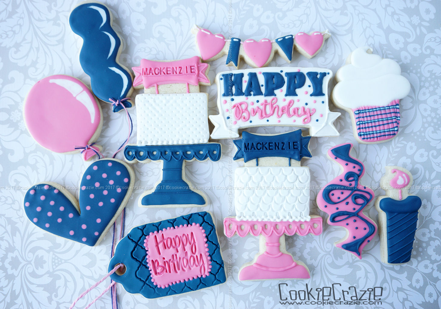 Navy & Pink Birthday Decorated Cookie Collection