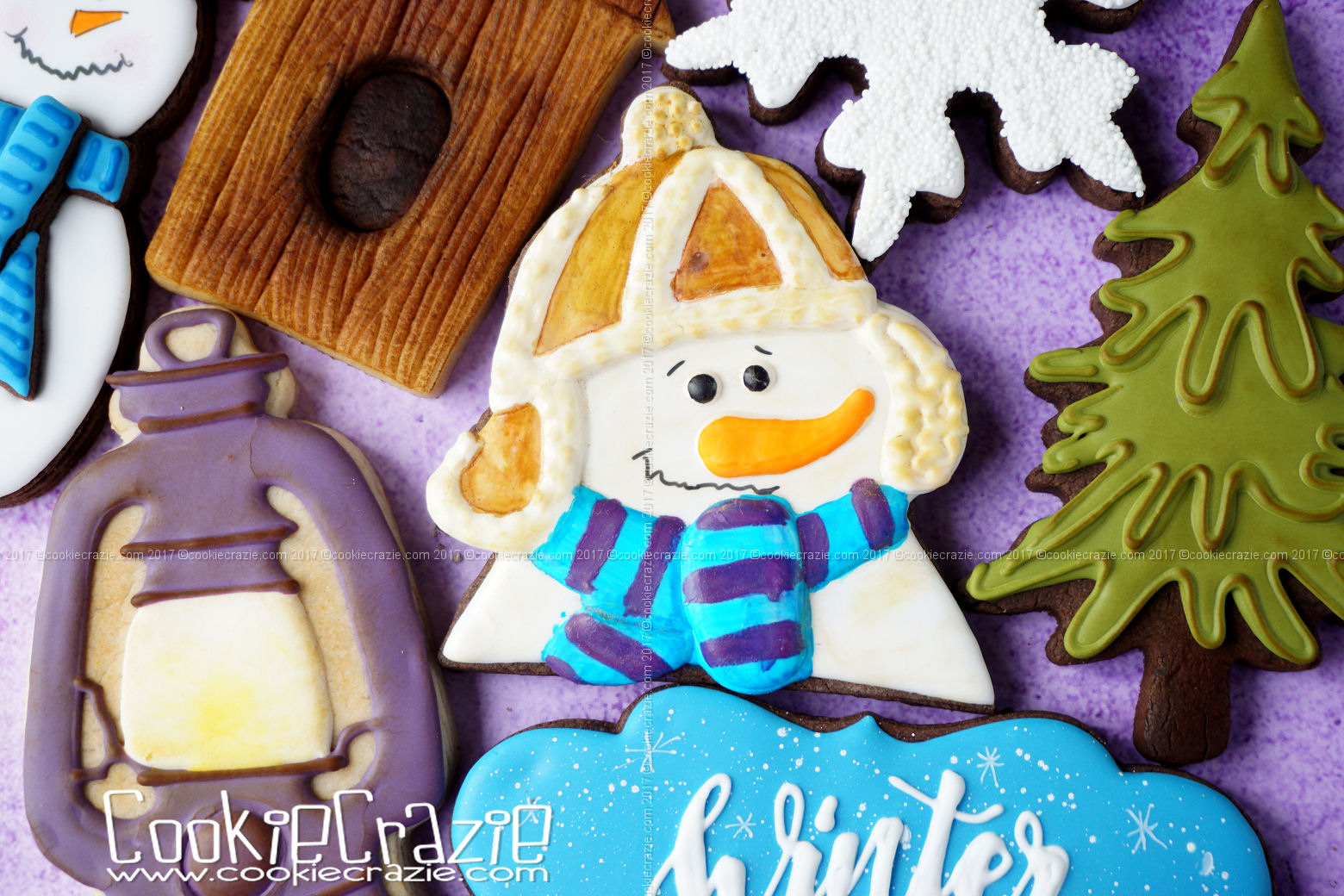 Snowman with Fluffy Hat Decorated Sugar Cookie YouTube video  HERE