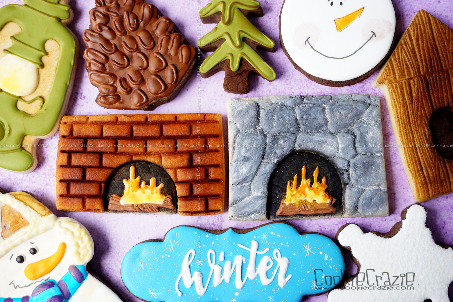 Fireplace Decorated Winter Sugar Cookies YouTube video  HERE