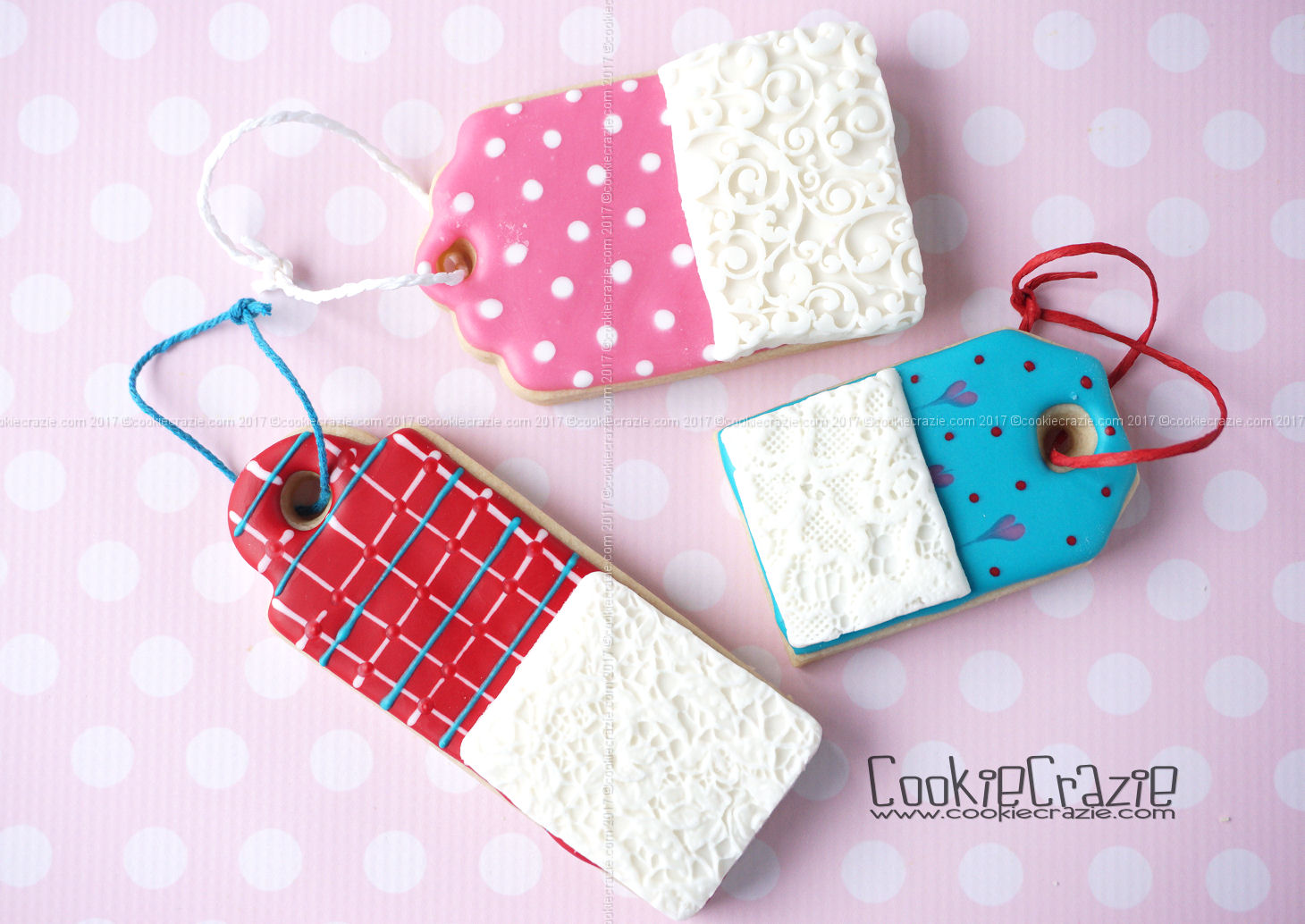 Patterned Lacy Valentine Gift Tag Decorated Cookies YouTube video  HERE