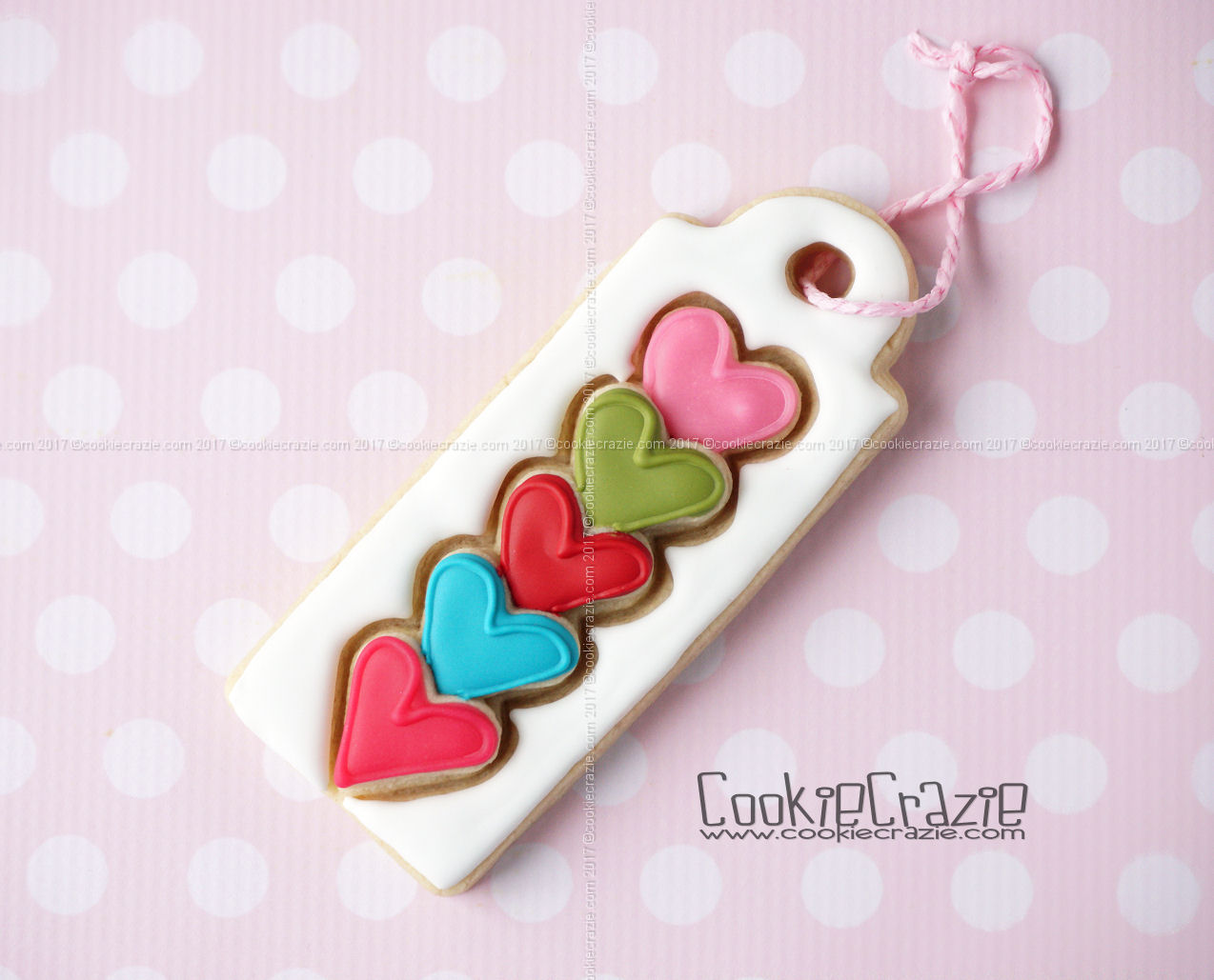 Stacked Hearts Valentine Gift Tag Decorated Sugar Cookie YouTube video  HERE