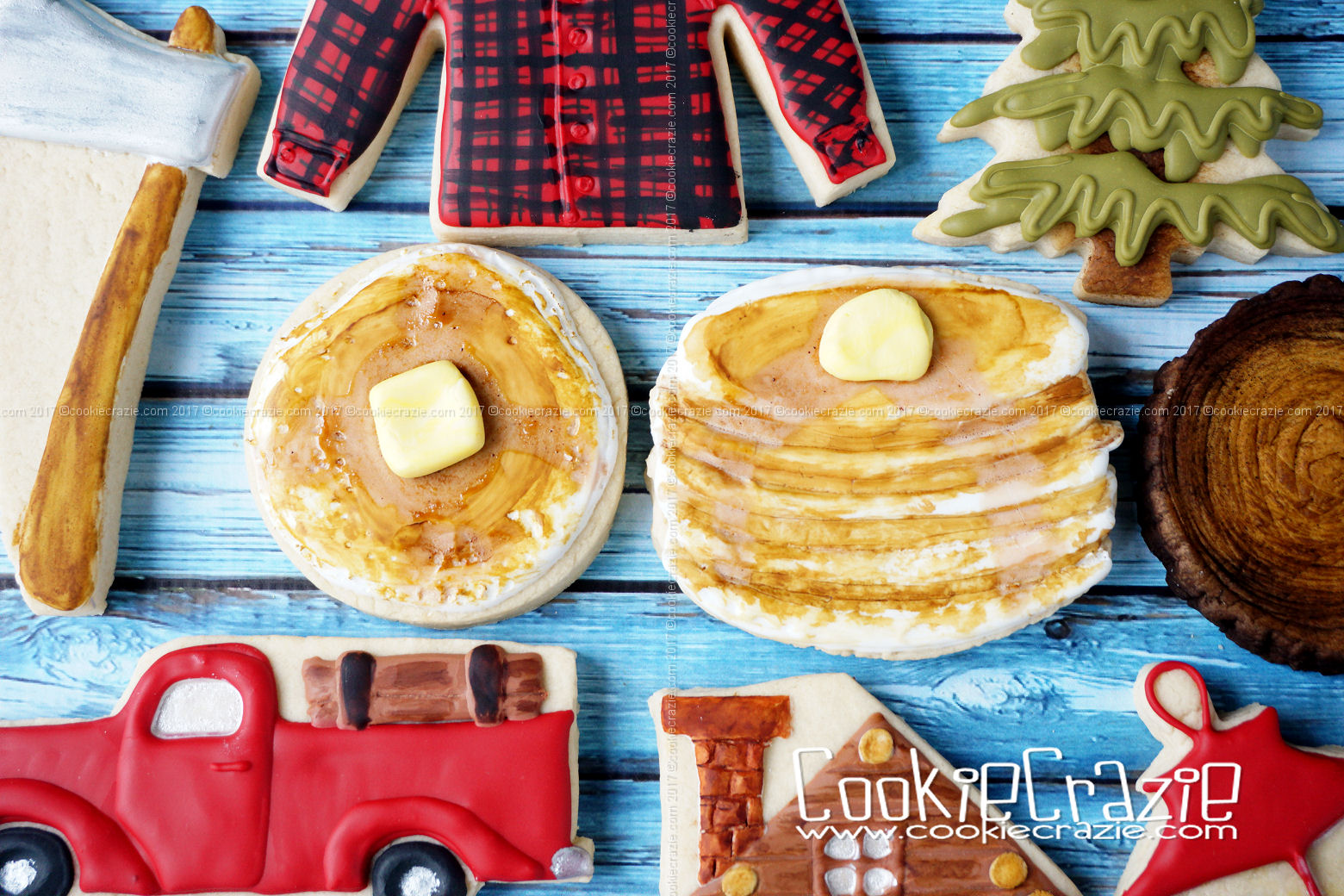 Lumberjack Pancakes Decorated Cookie YouTube video found  HERE