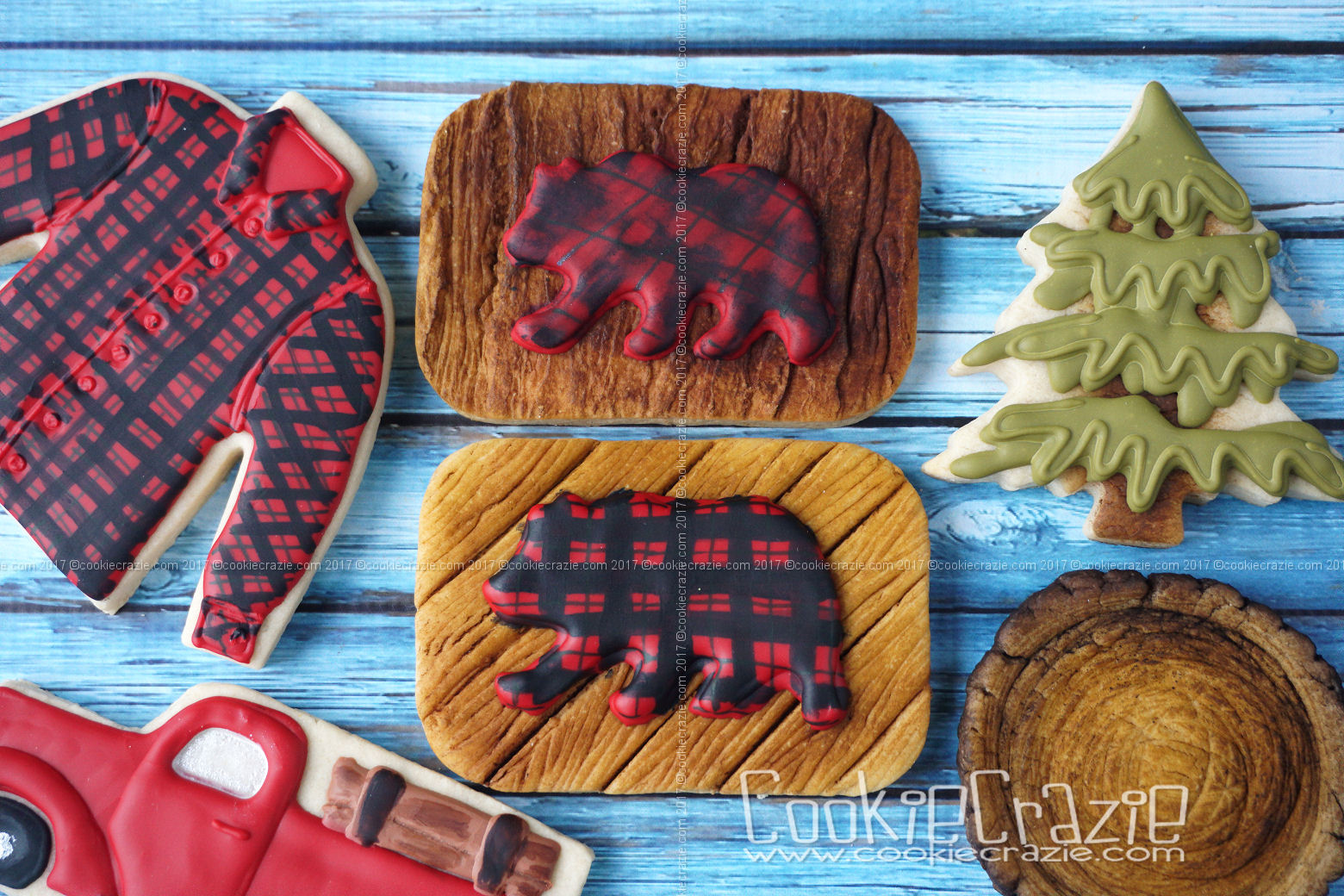 Plaid Bear on Wood Background Decorated Cookie YouTube video found  HERE
