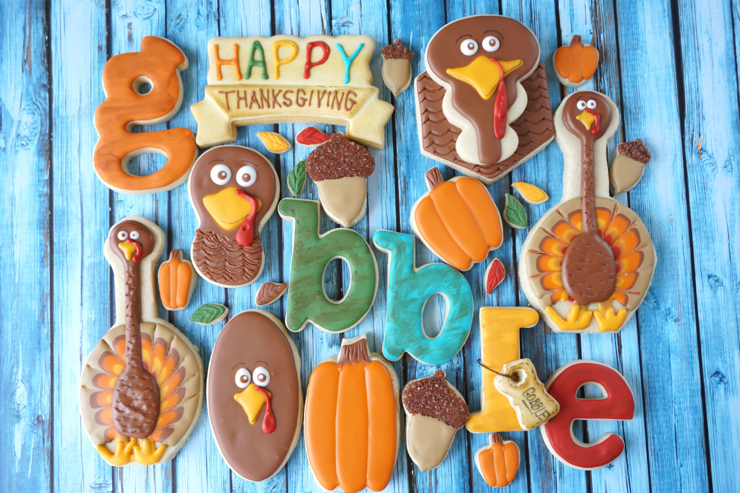 Thanksgiving Gobble Decorated Cookie Collection