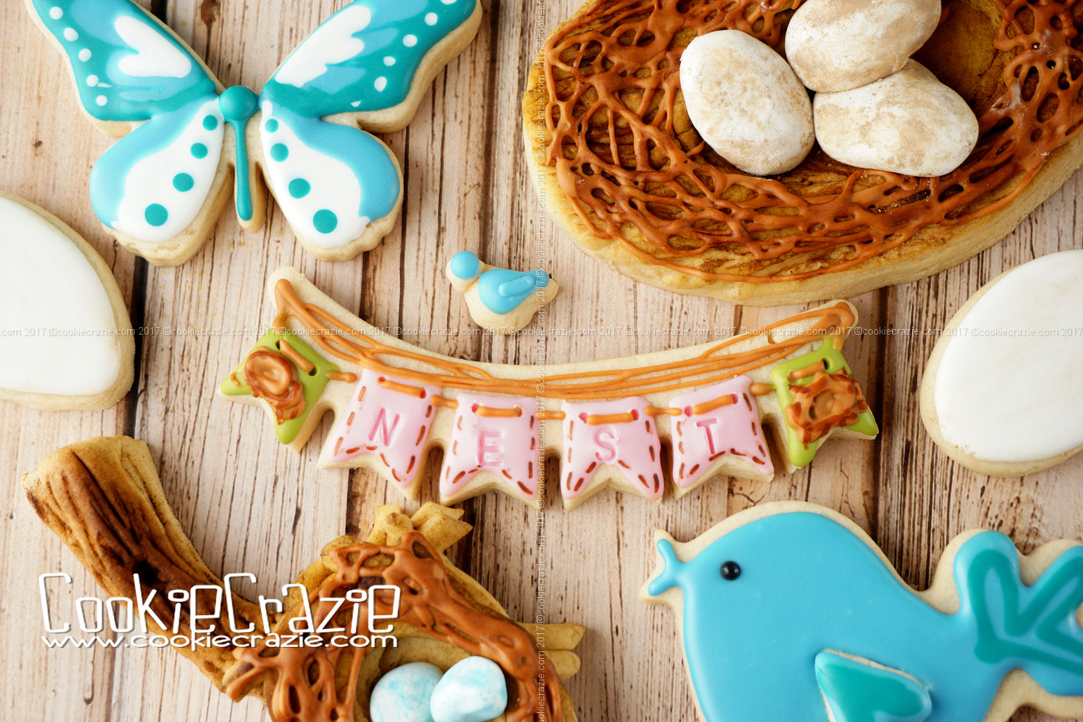 Spring Bird's Nest Bunting Decorated Cookie YouTube video  HERE