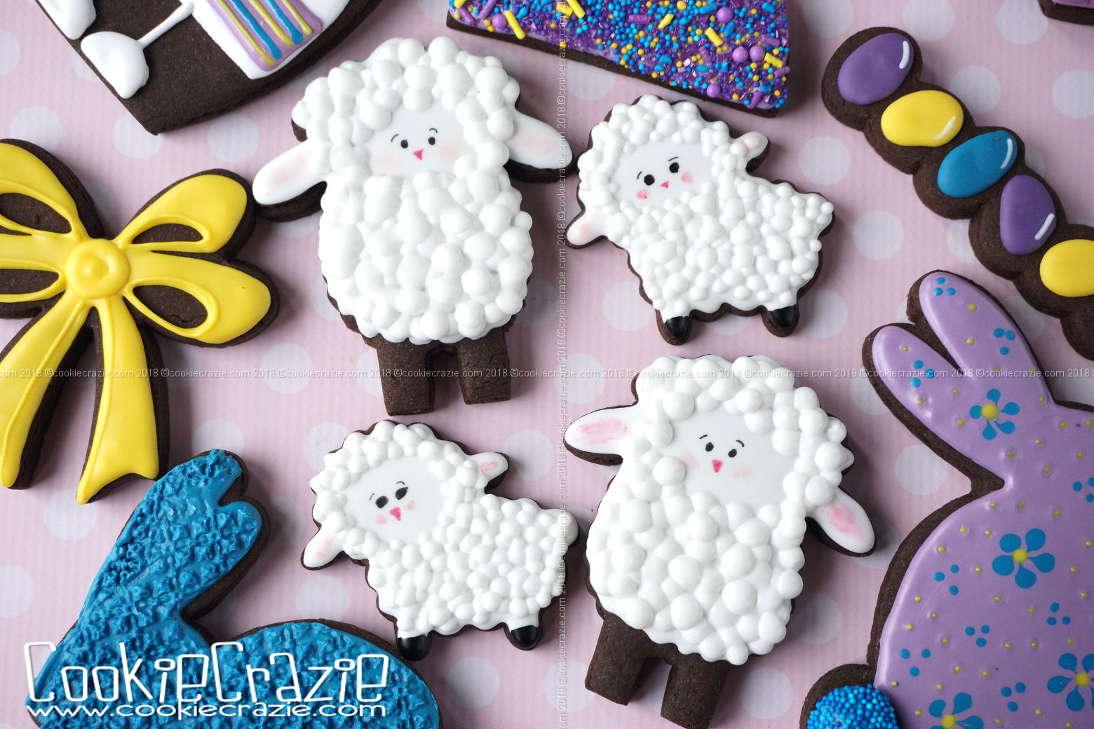 Lamb Decorated Sugar Cookies YouTube video  HERE  Lamb cutter found  HERE