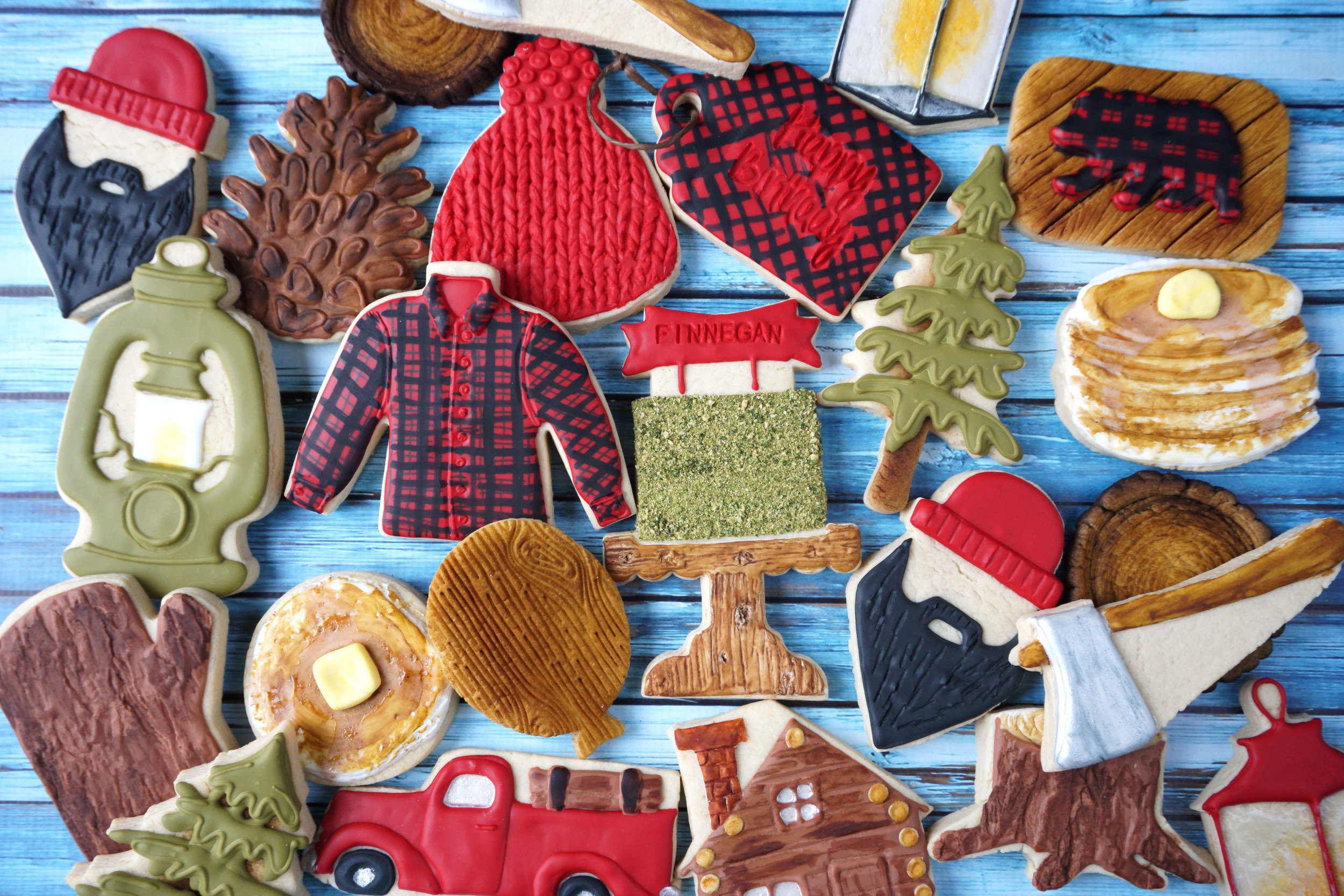 Finn's Lumberjack First Birthday Decorated Cookie Collection