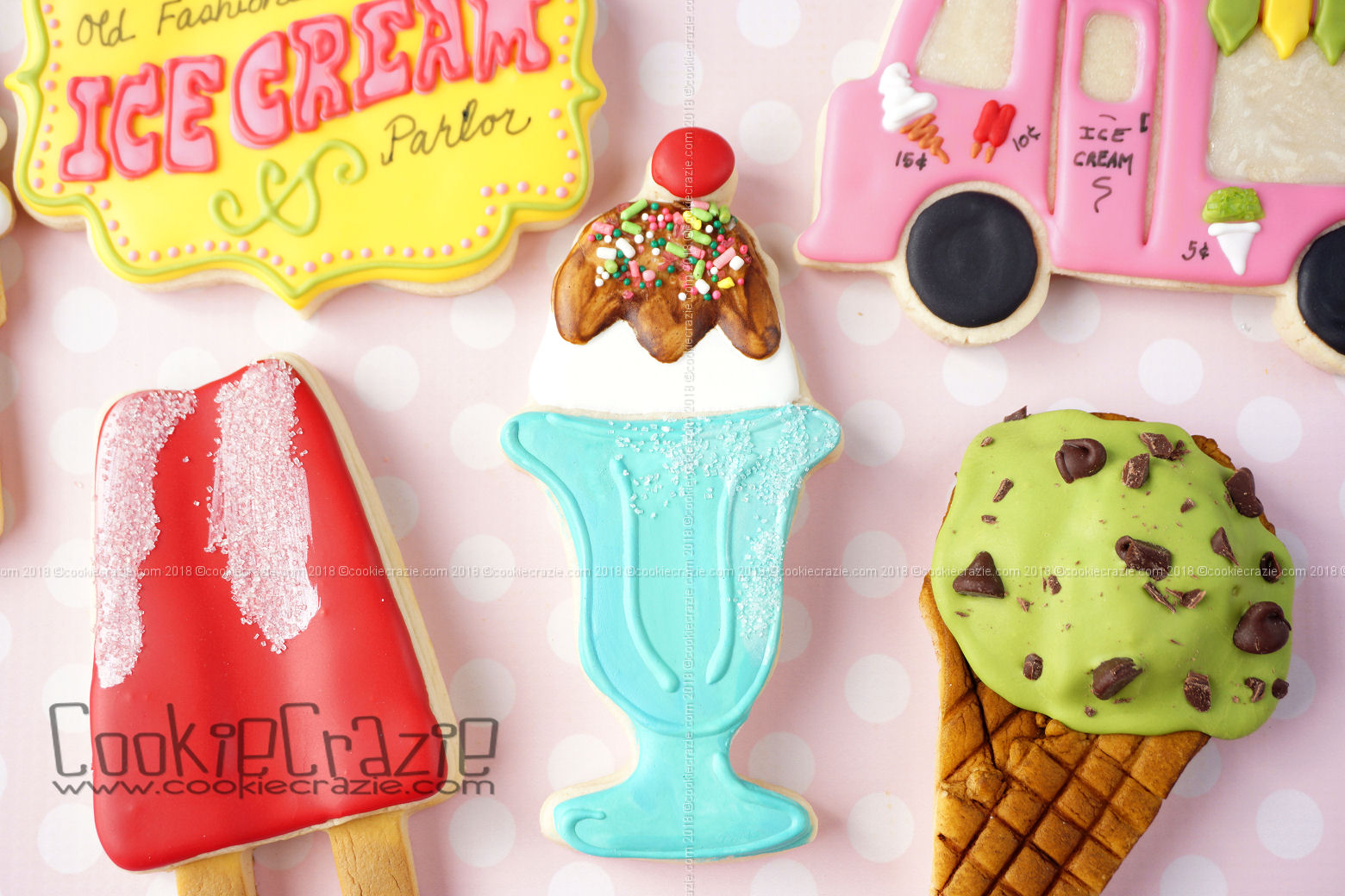 Ice Cream Sundae w Cherry Decorated Sugar Cookie YouTube video  HERE
