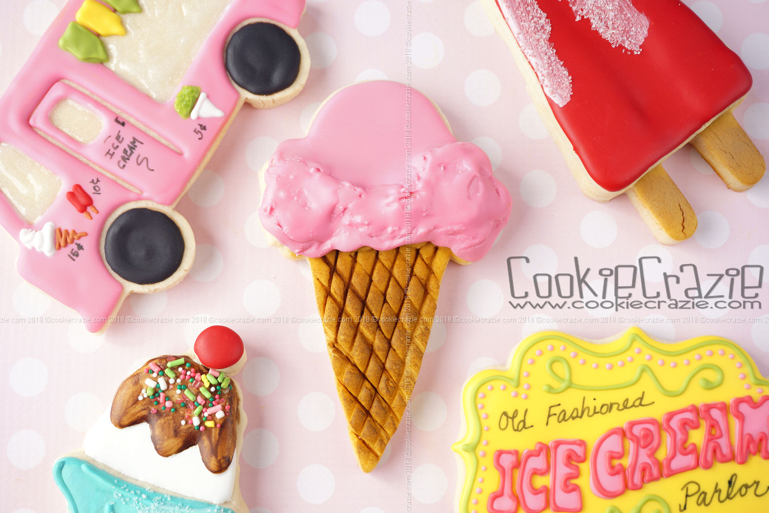 Single Scoop Waffle Ice Cream Cone Decorated Sugar Cookie YouTube video  HERE