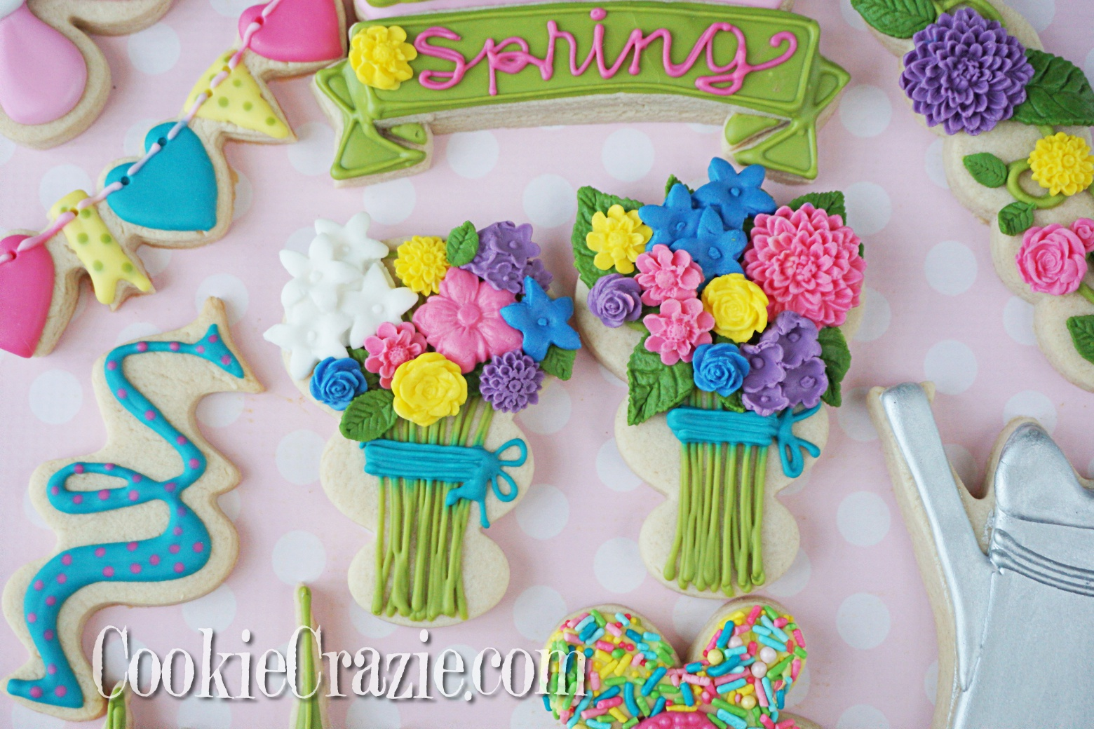 Floral Bouquet Decorated Sugar Cookies YouTUbe video  HERE