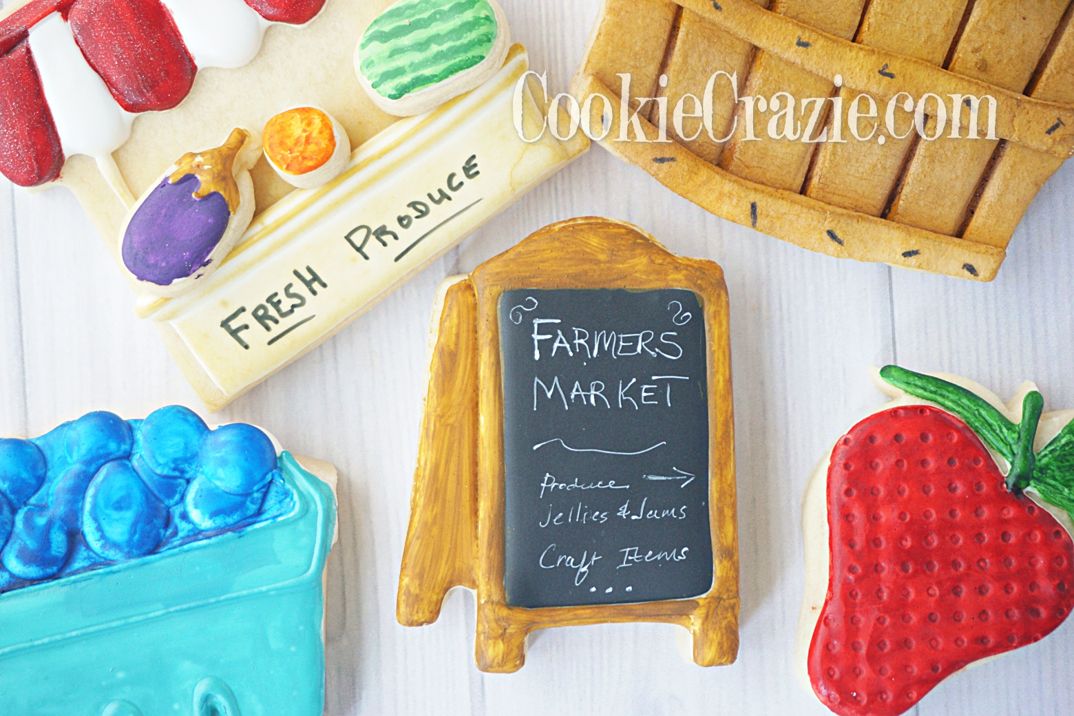 Farmers Market Bi-Fold Sign Decorated Sugar Cookie YouTube video  HERE
