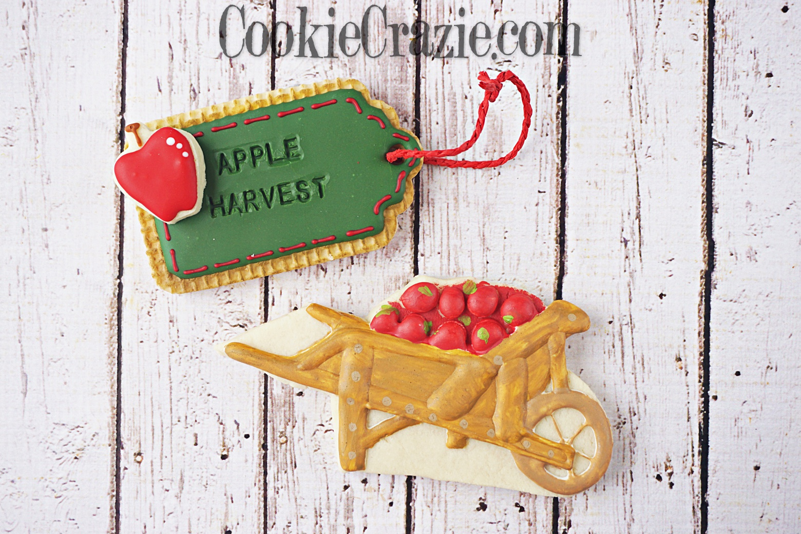Apple Wheelbarrow Decorated Sugar Cookie YouTube video  HERE