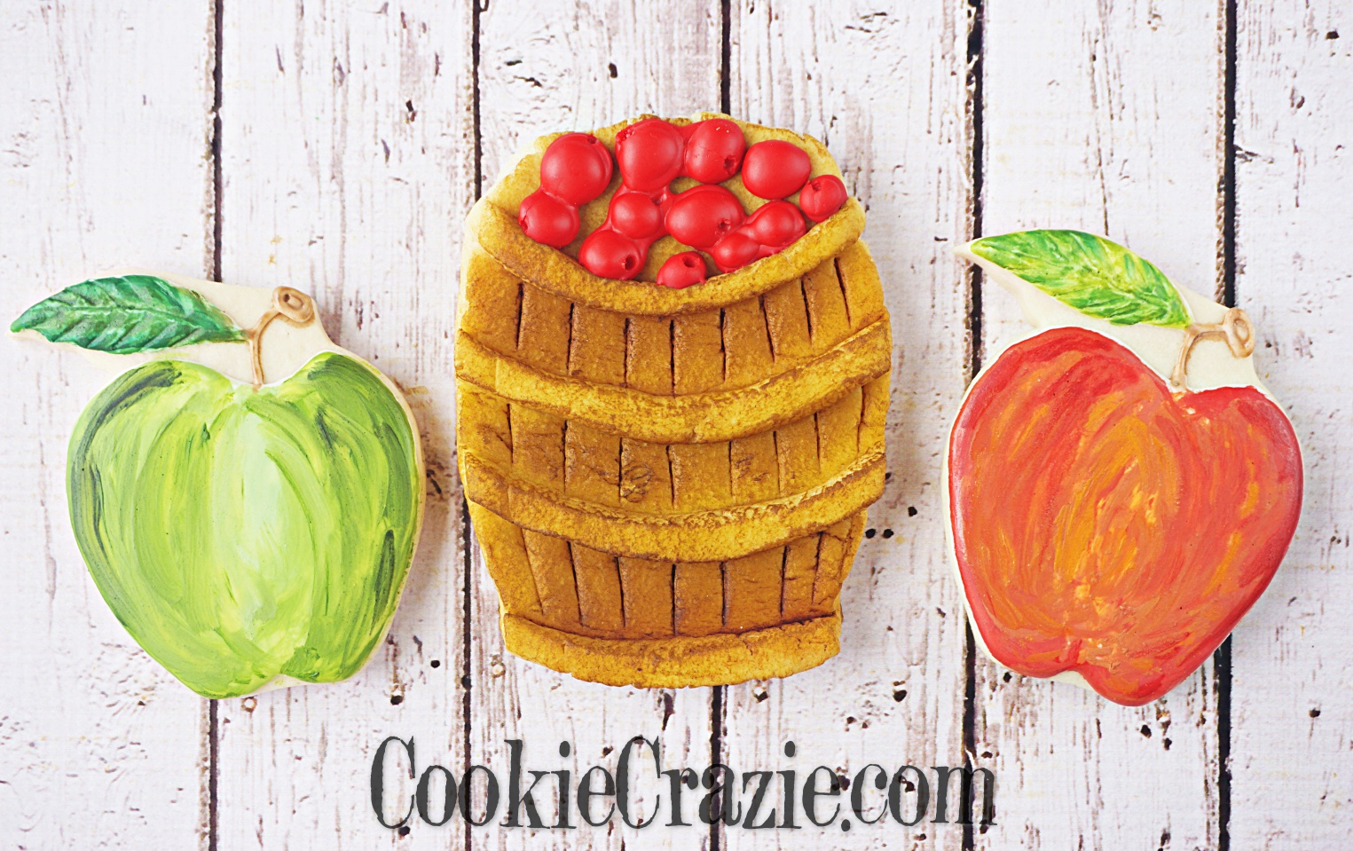 Apple Barrell Decorated Sugar Cookie YouTube video  HERE