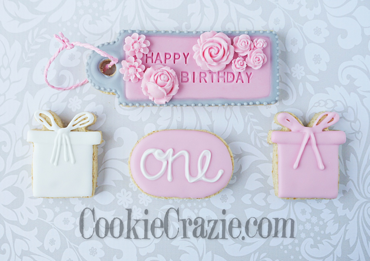 Happy Birthday Gift Tag Decorated Sugar Cookie YouTube video  HERE