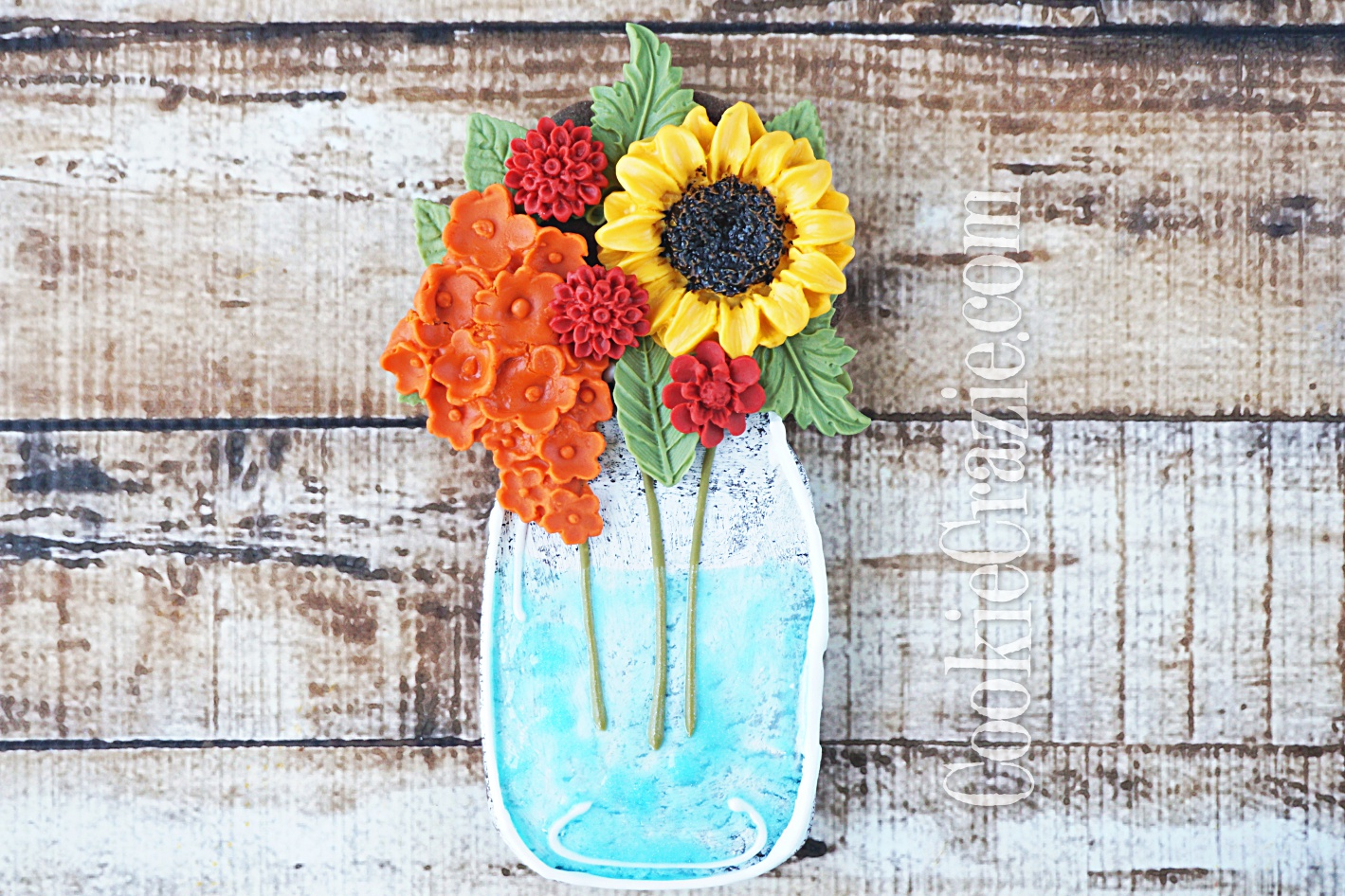 Mason Jar Fall Bouquet Decorated Sugar Cookie YouTube video (Click on Photo)
