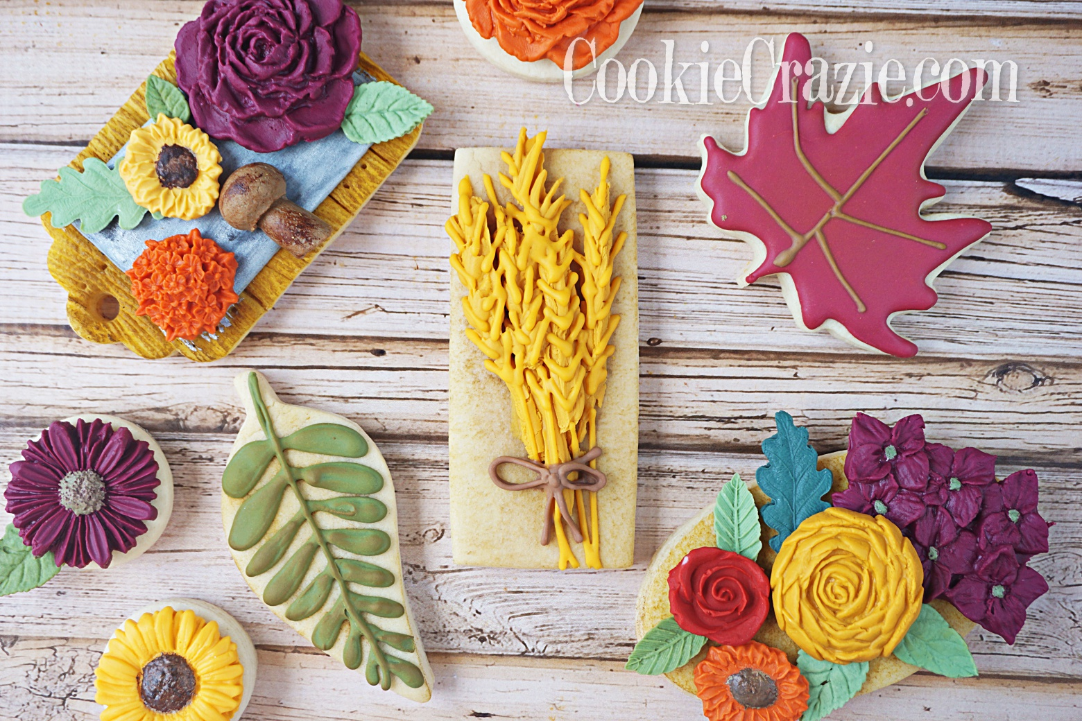 Wheat Bouquet Decorated Sugar Cookie YouTube video  HERE