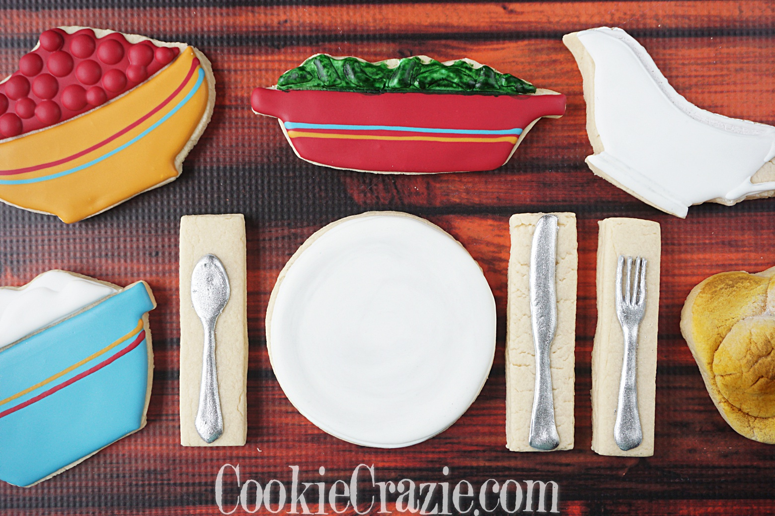 Dinner Plate Decorated Sugar Cookie YouTube video  HERE