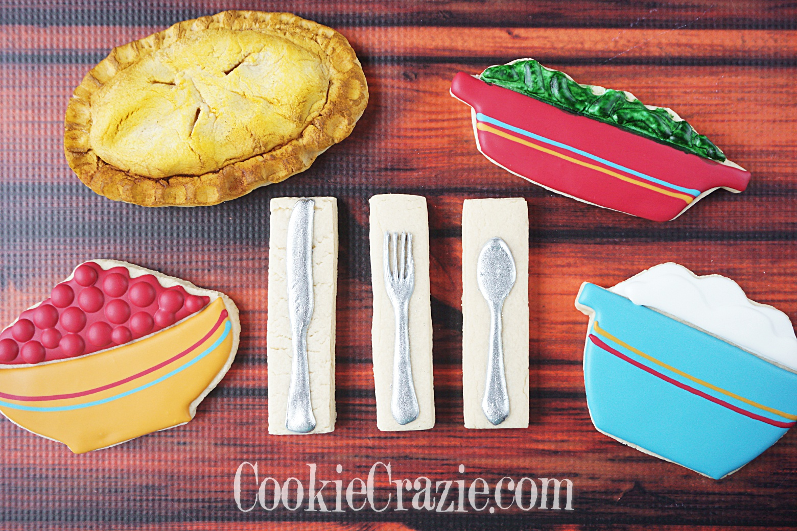Silverware (Fork, Knife, & Spoon) Decorated Sugar Cookies YouTube video  HERE
