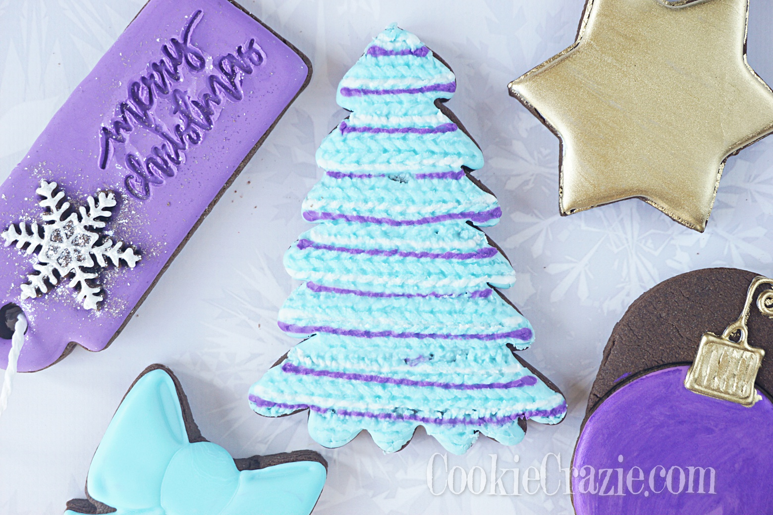 Knitted Christmas Tree Decorated Sugar Cookie YouTube video  HERE