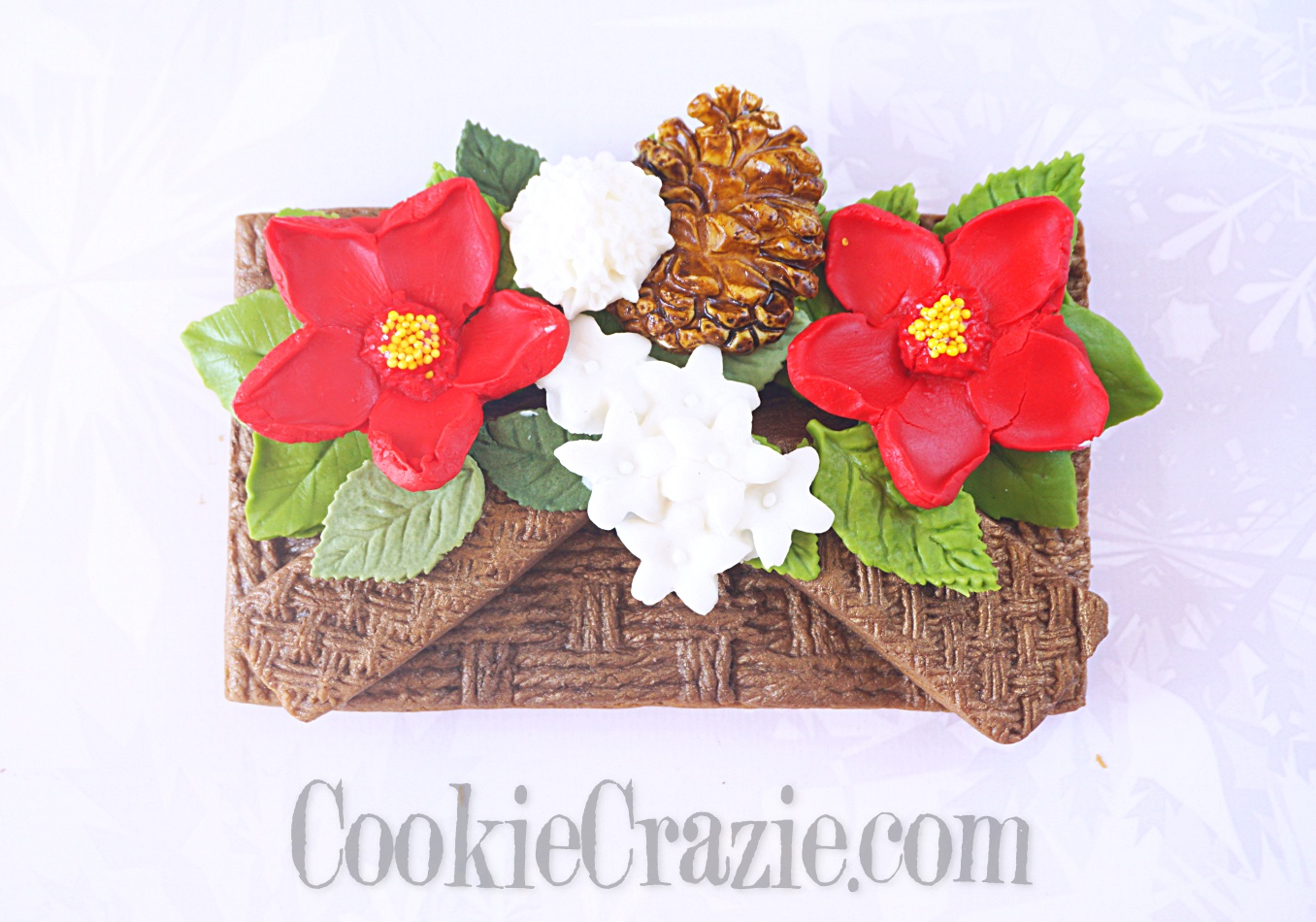 Christmas Basket Bouquet Decorated Sugar Cookie YouTube video  HERE