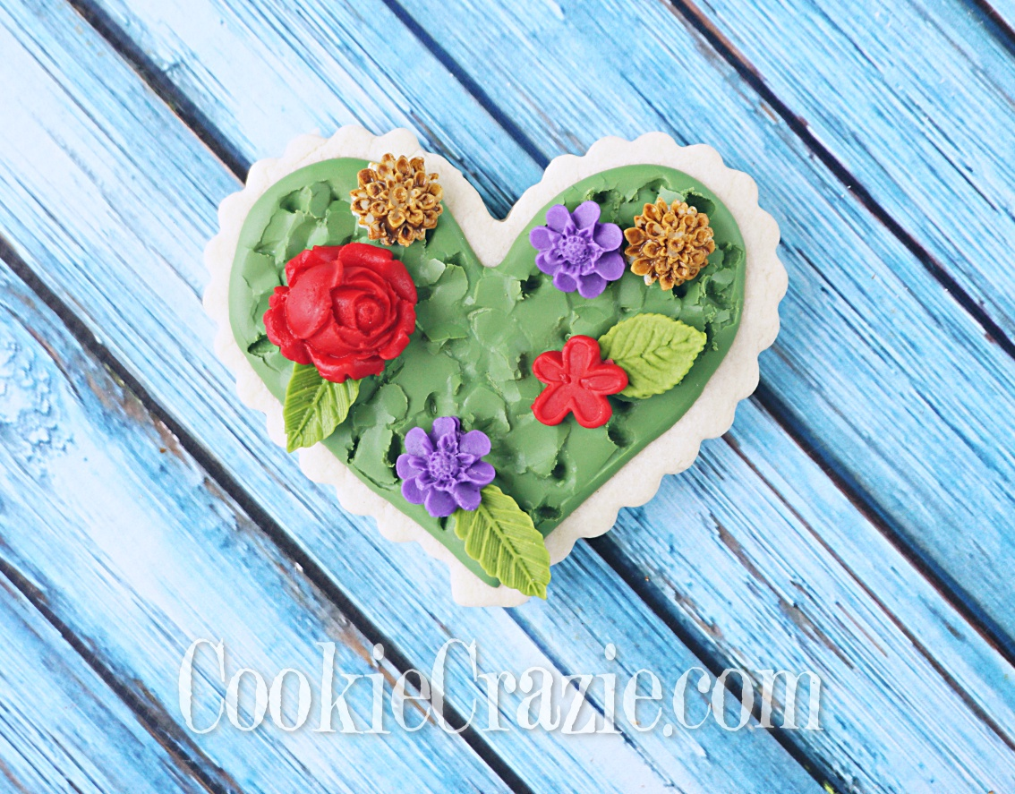 Grassy Flower Field Heart Decorated Sugar Cookie YouTube video  HERE