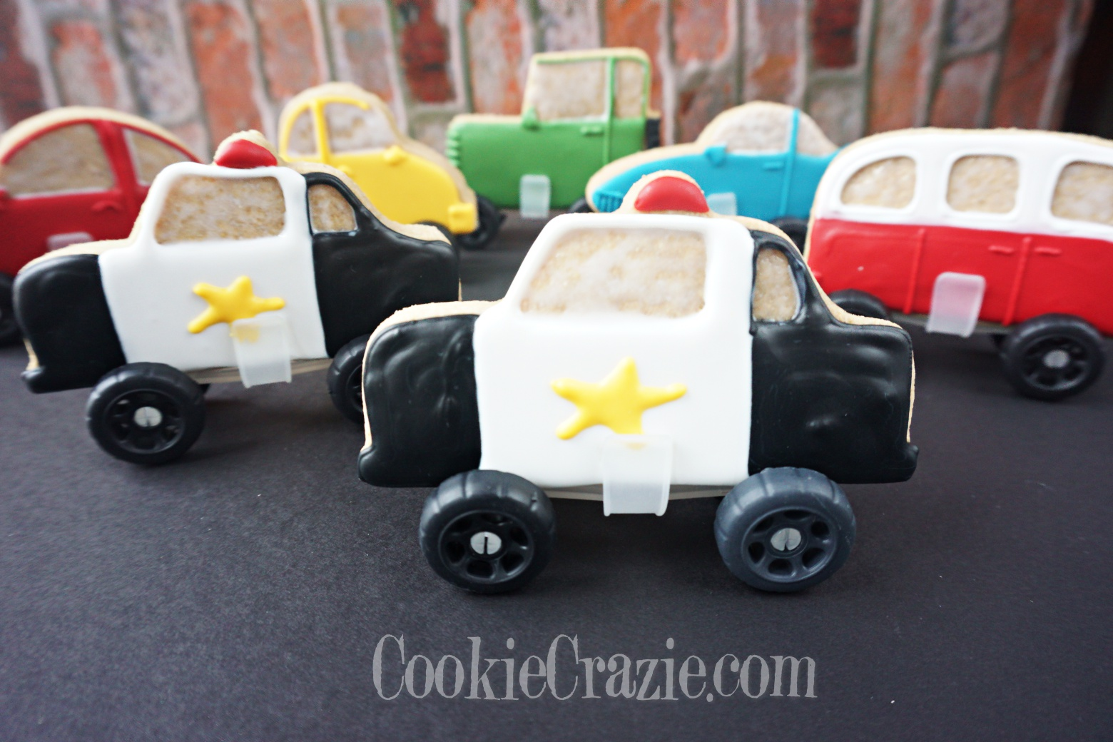 Finn's Police Car Decorated Sugar Cookie YouTube video  HERE