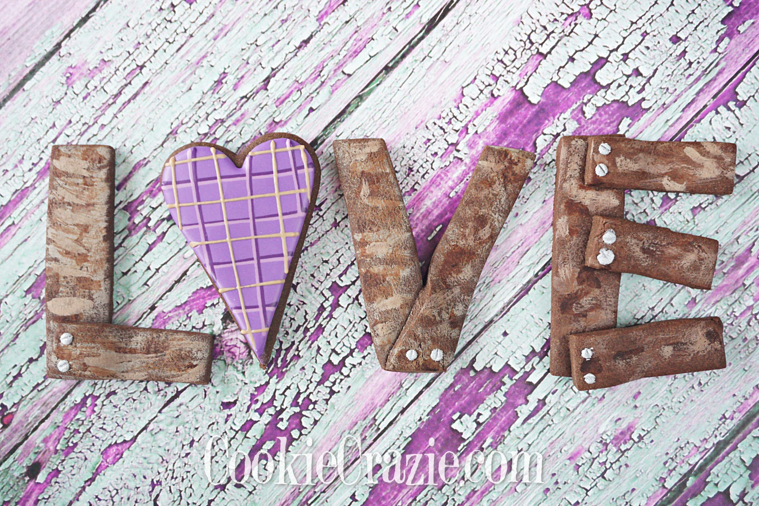 Wooden Valentine LOVE Decorated Sugar Cookies YouTube video  HERE