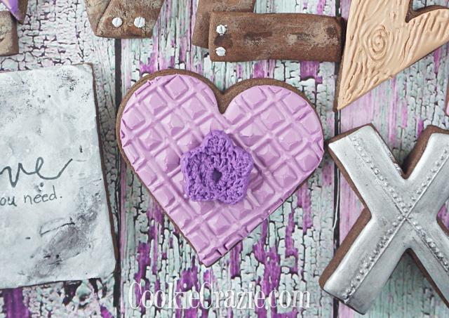 Diamond Textured Valentine Heart Decorated SUgar Cookie YouTube video  HERE
