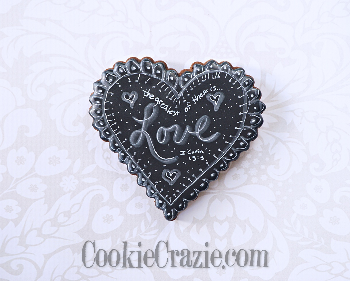 Chalkboard Valentines Heart Decorated Sugar Cookie YouTube video  HERE