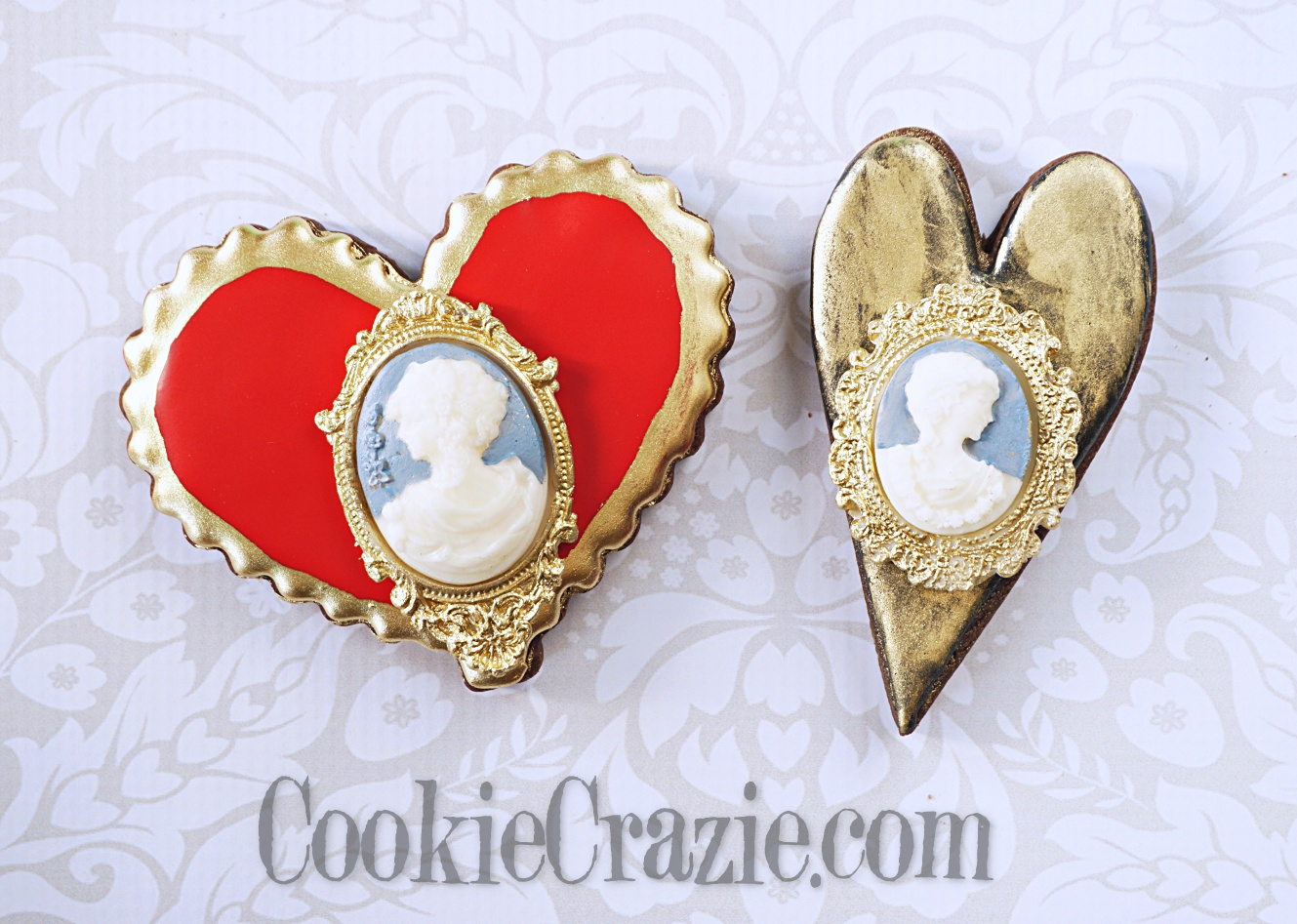 Valentine Cameo Decorated Sugar Cookies YouTube video  HERE