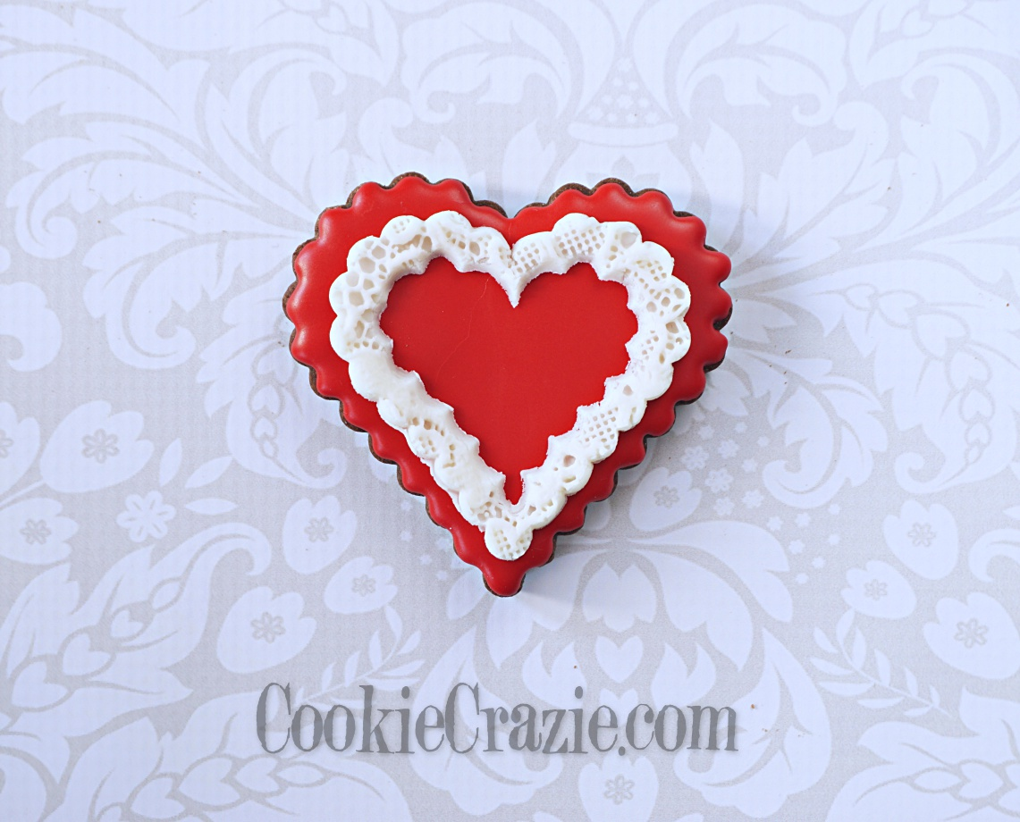 Valentine Heart with Lace Outline Decorated Sugar Cookie YouTube video  HERE