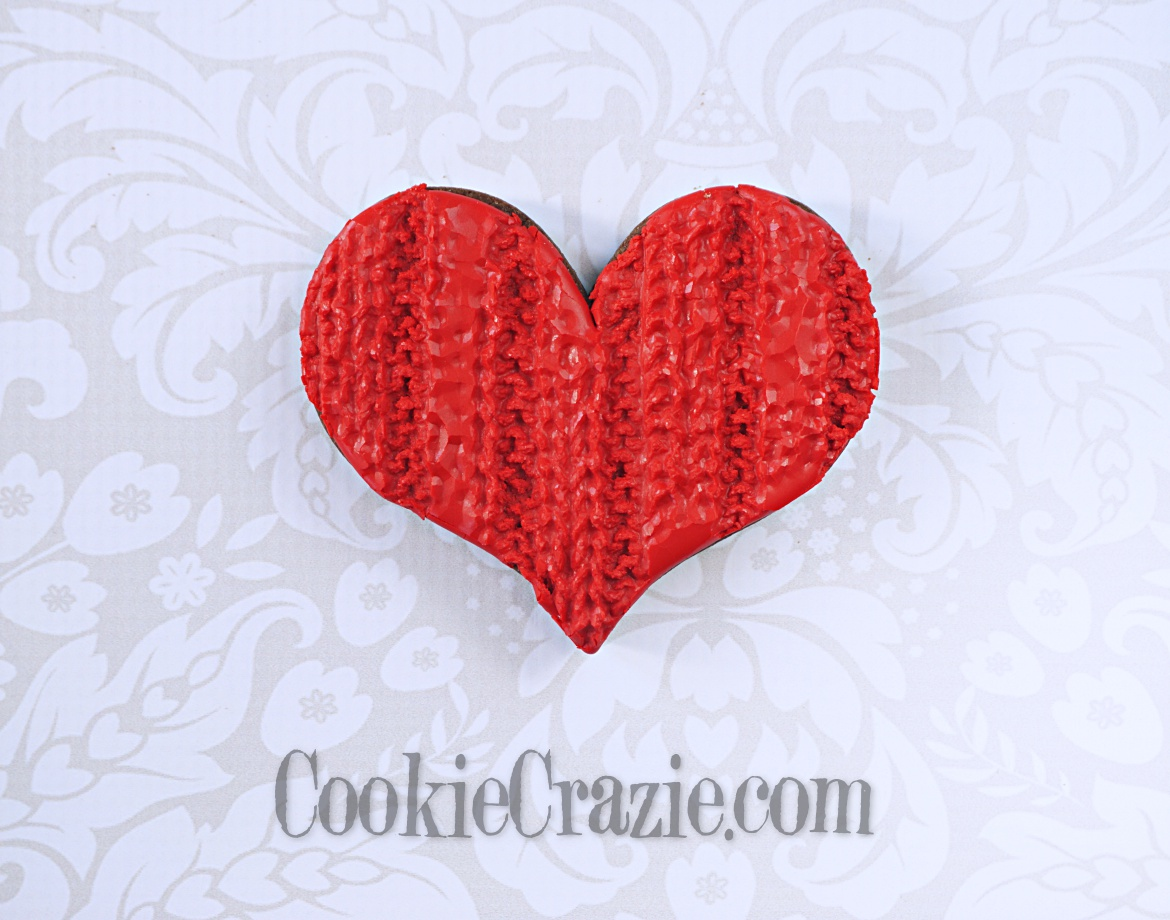 Knitted Valentines Heart Decorated Sugar Cookie YouTube video  HERE
