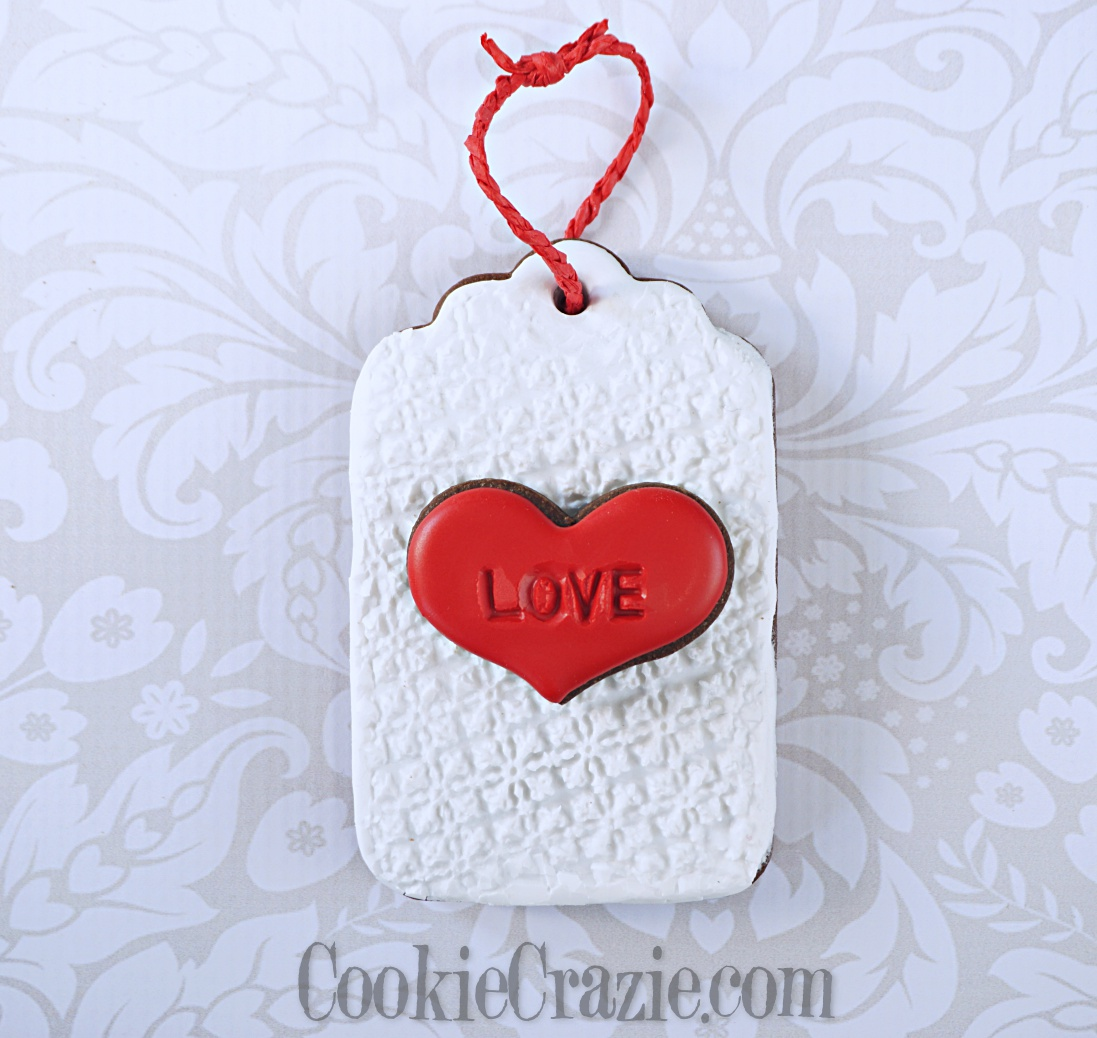 Valentine Gift Tag Decorated Sugar Cookie YouTube video  HERE