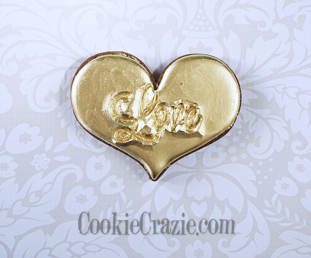 Golden Valentines LOVE Heart Decorated Sugar Cookie YouTube video  HERE