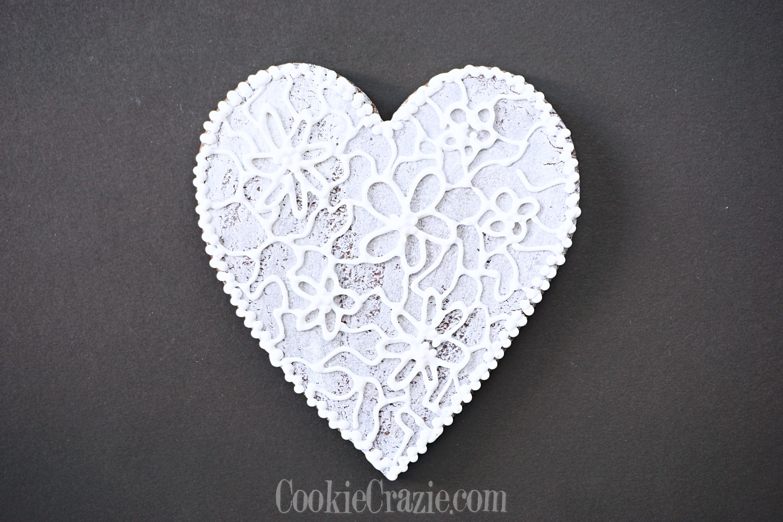 Lacy Valentine Heart Decorated Sugar Cookie YouTube video  HERE