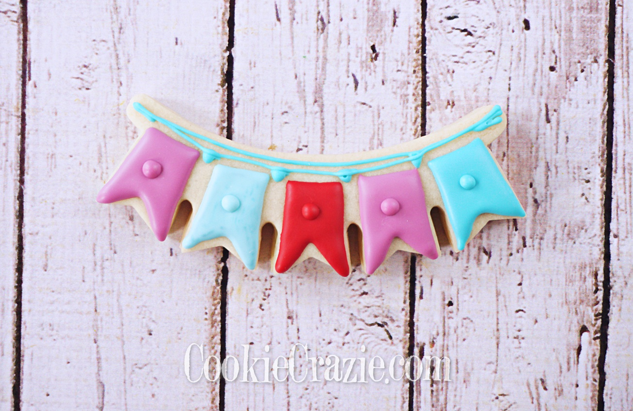 Happy Birthday Bunting Decorated Sugar Cookie YouTube video  HERE