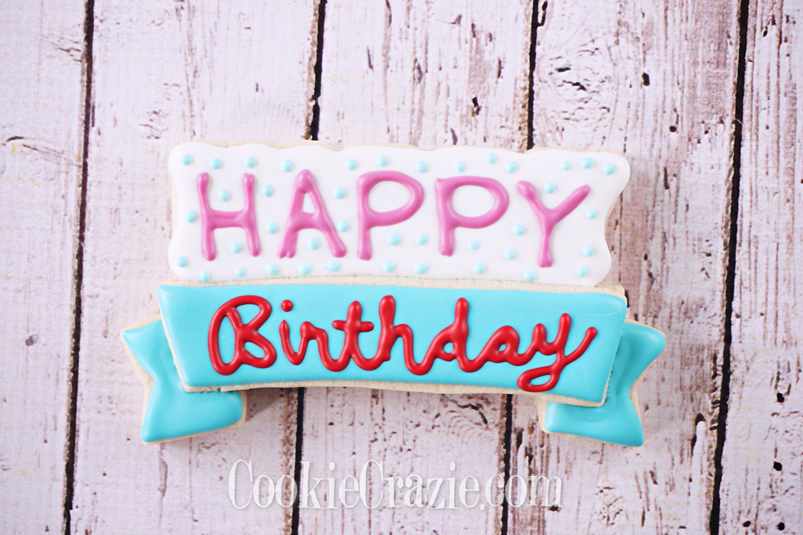 Happy Birthday Banner Decorated Sugar Cookie YouTube video  HERE