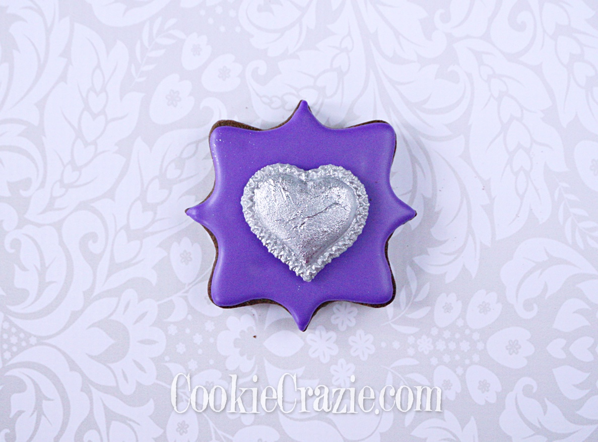 Plaque with Silver Heart Decorated Sugar Cookie YouTube video  HERE