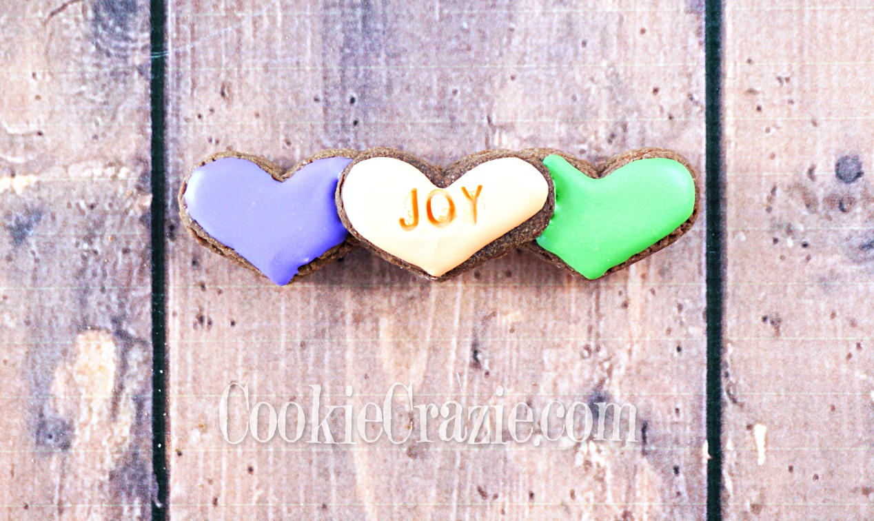 Spring Joy Heart Trio Decorated Sugar Cookie YouTube video  HERE