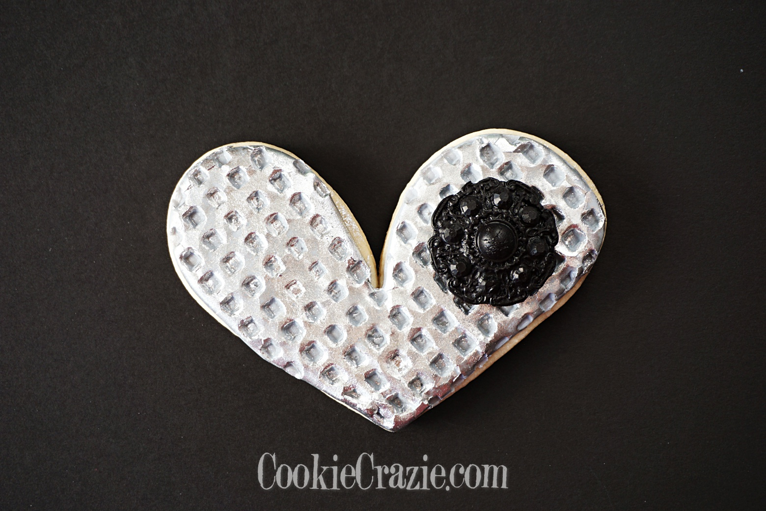 Silver Heart Decorated Sugar Cookie YouTube video  HERE