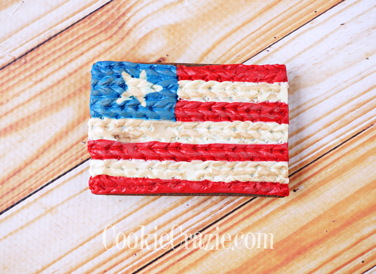 Knitted USA Flag Decorated Sugar Cookie YouTube video  HERE
