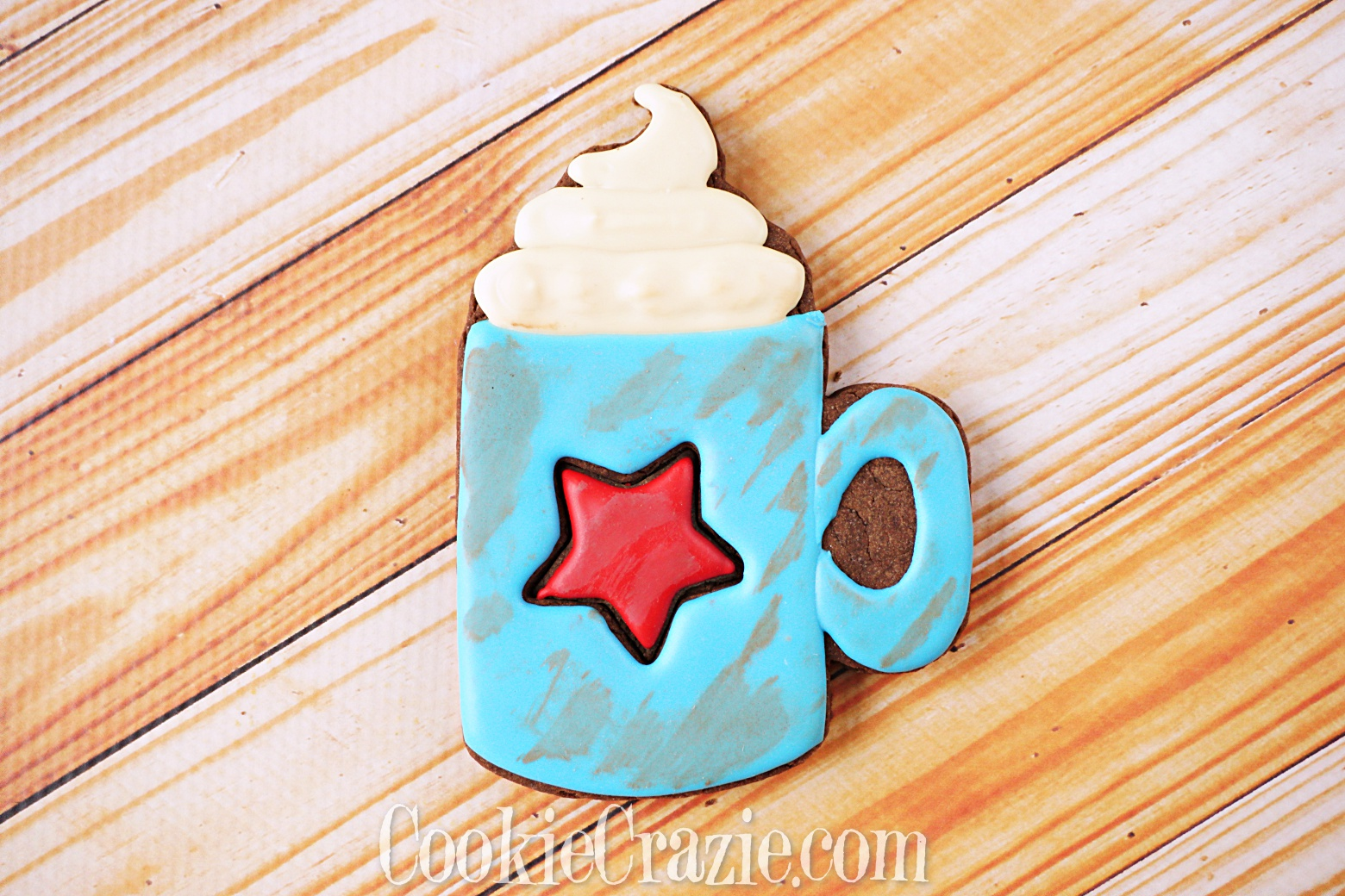 USA Patriotic Mug w Whipped Cream Decorated Sugar Cookie YouTube video  HERE