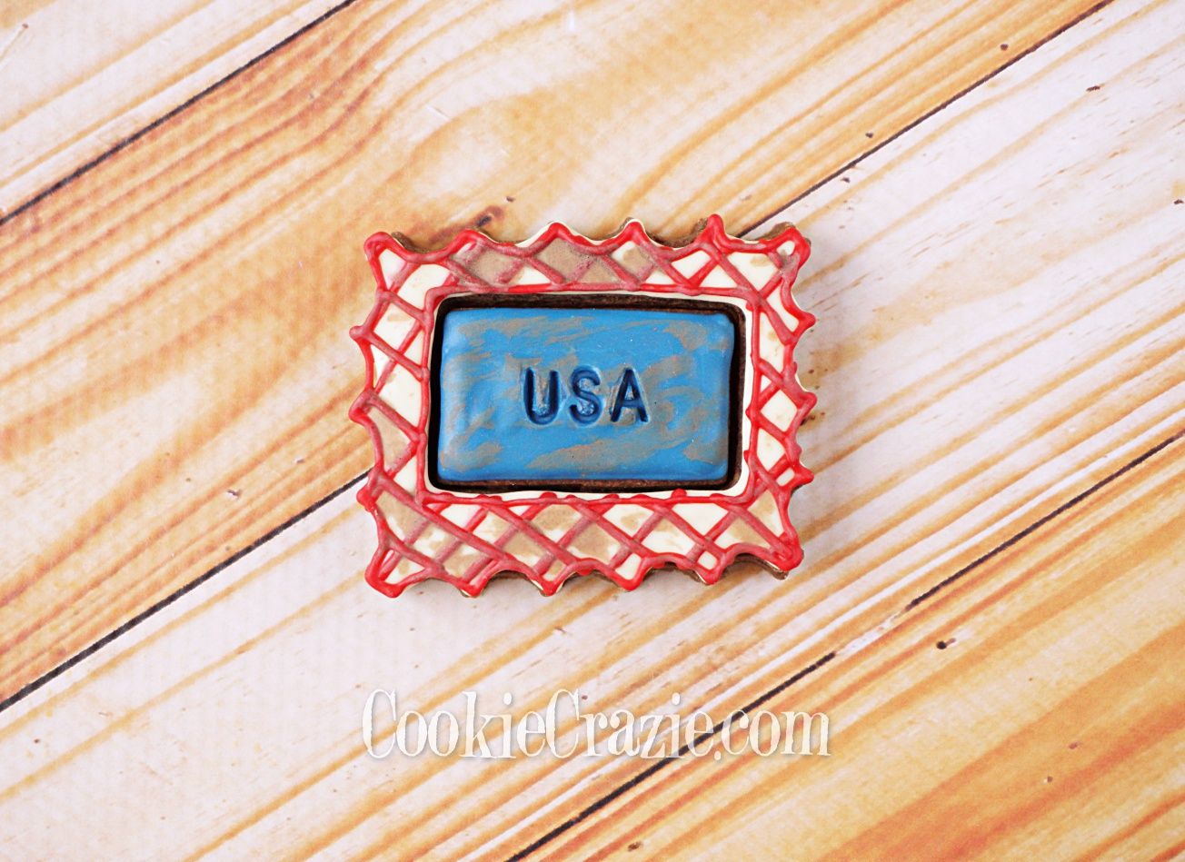 USA Postage Stamp Decorated Sugar Cookie YouTUbe video  HERE